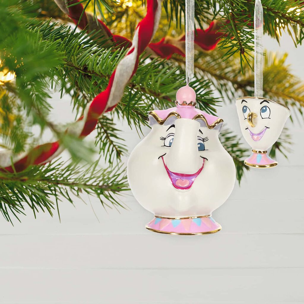 Disney Beauty And The Beast Mrs Potts And Chip Porcelain Ornaments