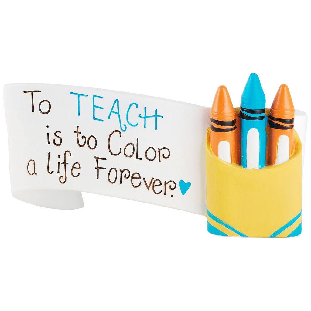 teach banner with crayons mini figurine 4x2 figurines hallmark