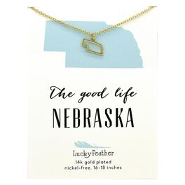 State of Nebraska Necklace in 14k Yellow Gold-Plate, , large