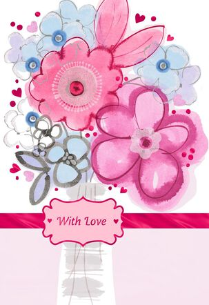 Watercolor Flowers in Vase Valentine's Day Card for Anyone