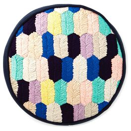 "Multicolor Yarn Stitch Pillow, 10"" Round, , large"