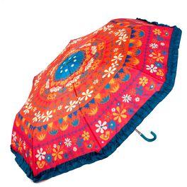 Natural Life Orange Floral Fold-Up Umbrella, , large