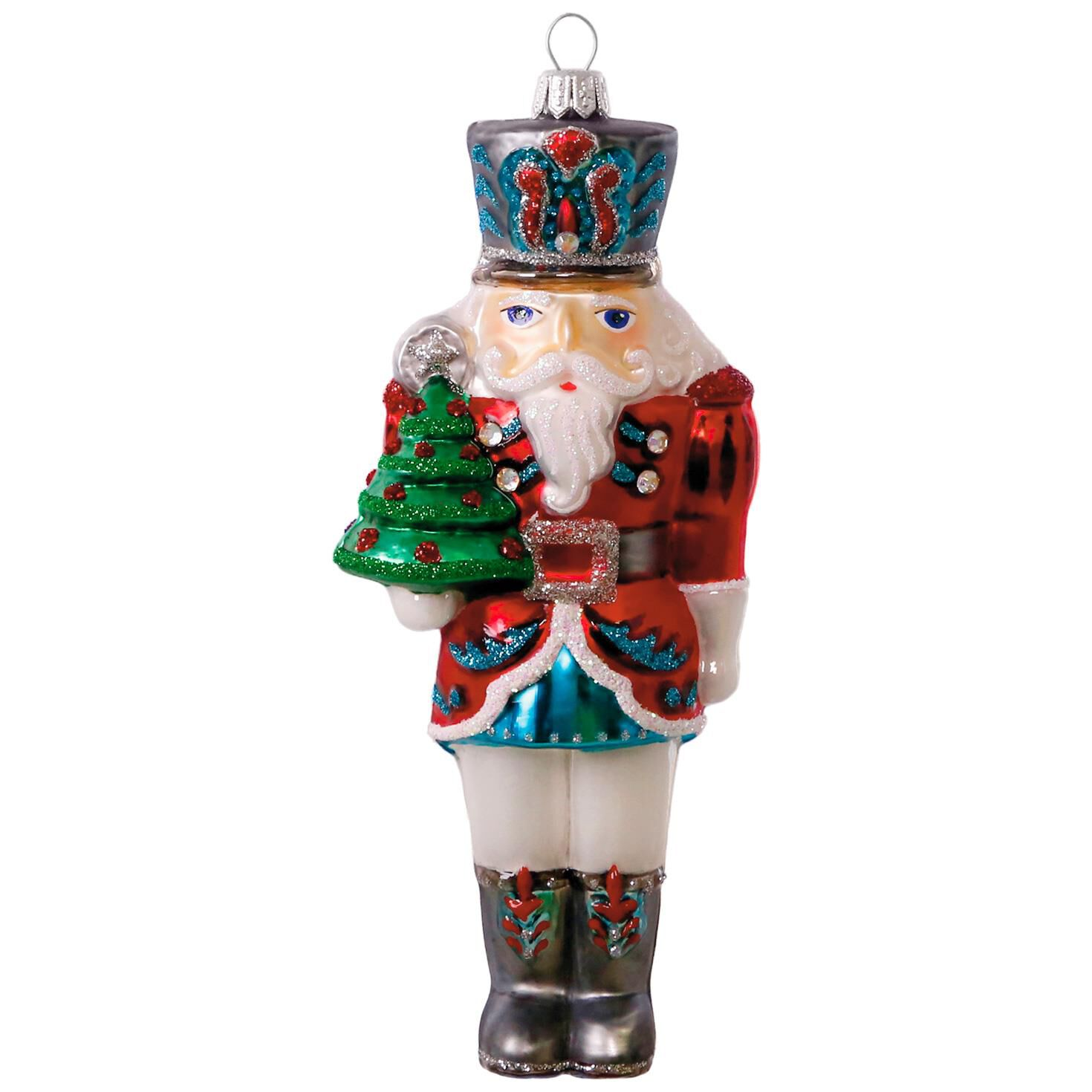 Traditional Nutcracker Blown Glass Ornament  Specialty Ornaments