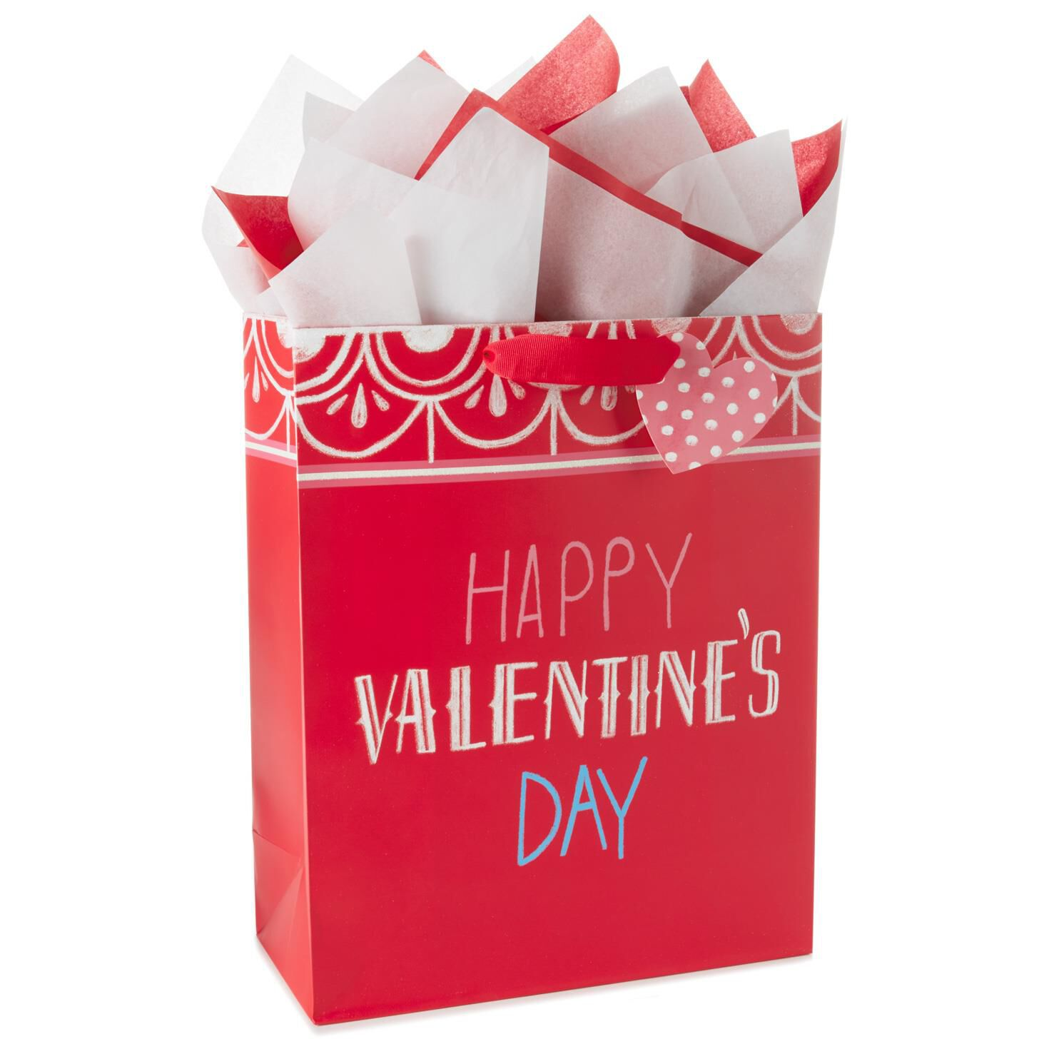 Valentine\'s Day X-Large Gift Bag With Tissue Paper, 15.5\