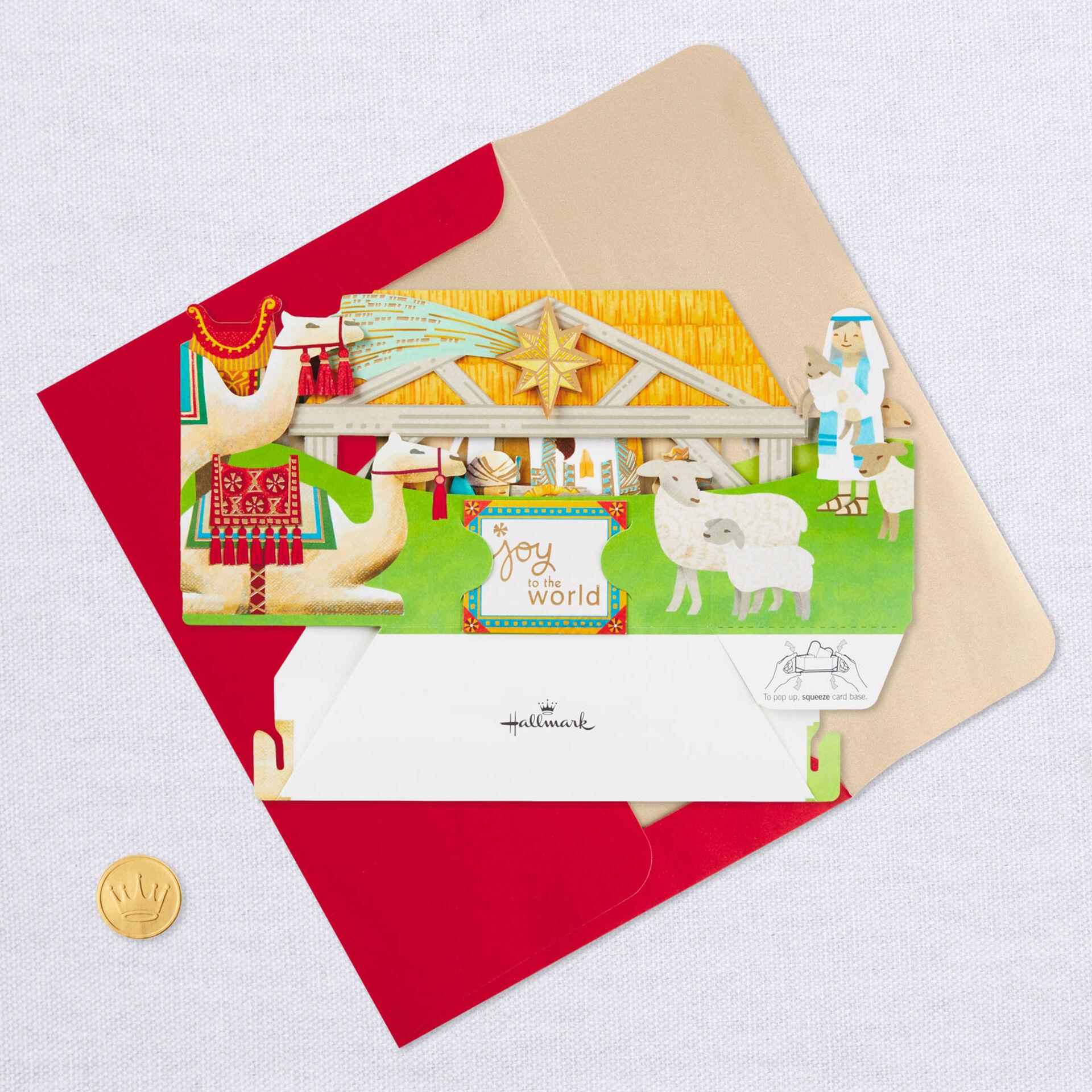 "Hallmark Wonderfolds  /""Joy to the World/"" Pop Up 3D Set of 8 Holiday Cards NEW"