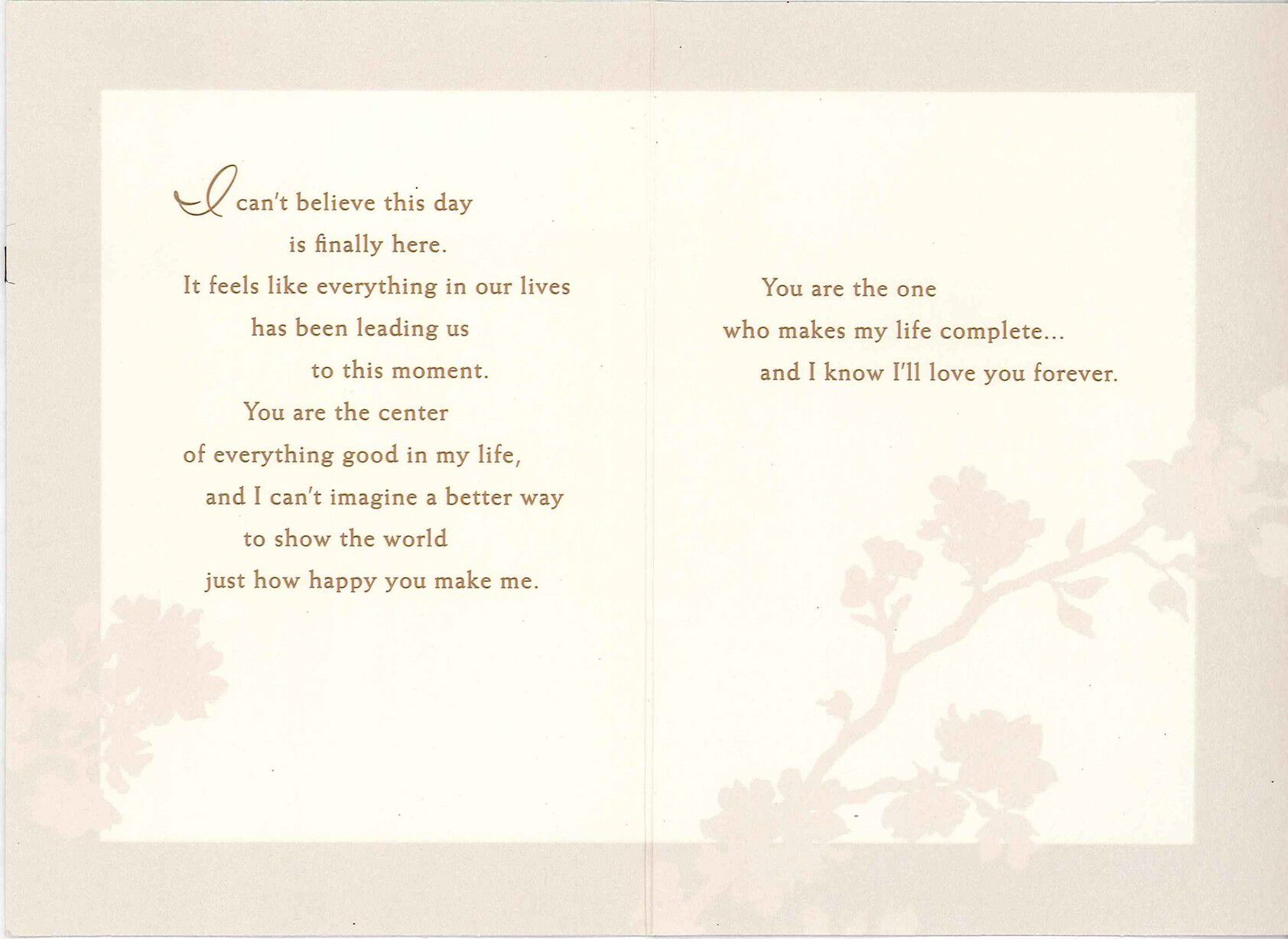 You Make My Life Complete Wedding Card,