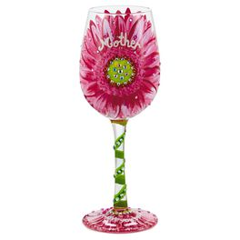 Lolita® Mom's Love in Bloom Handpainted Wine Glass, 15 oz., , large