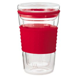 Red Travel Mug With Tea Infuser, 13.5 oz., , large
