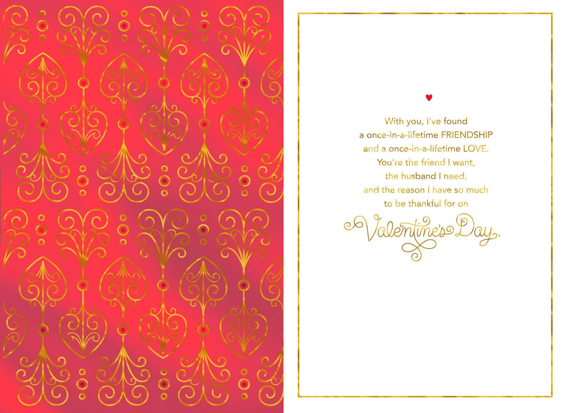 Gold Foil Scrollwork Valentineu0027s Day Card For Husband,