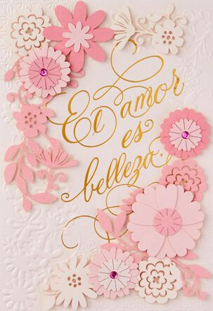 Pink Flowers Spanish-Language Mother's Day Card for Wife