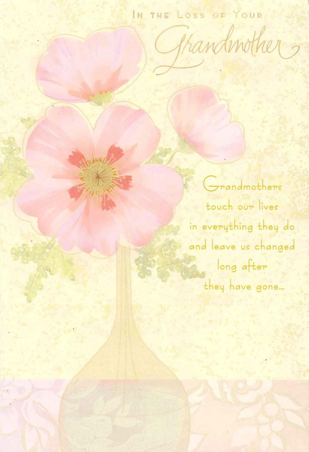 Pink Flowers Loss Of Grandmother Sympathy Card Greeting Cards