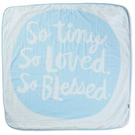 So Tiny, So Loved, So Blessed Blue Muslin Baby Blanket, , large
