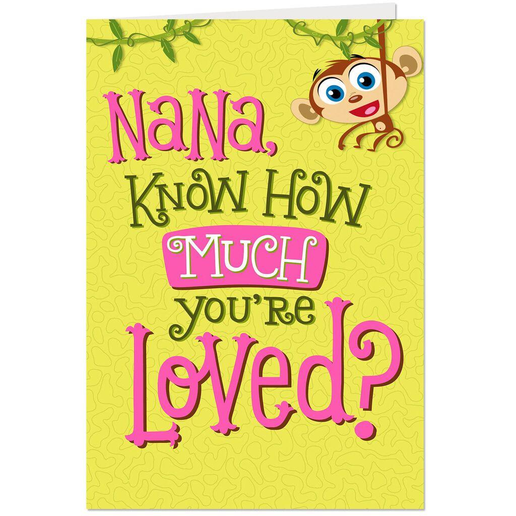 Monkey Hug Pop Up Birthday Card For Nana