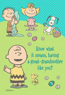 Peanuts® Gang Easter Card for Great-Grandmother,