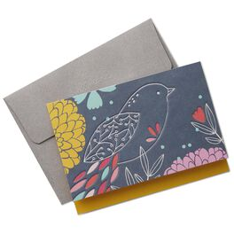 Folk Floral Bird Blank Note Cards, Box of 10, , large