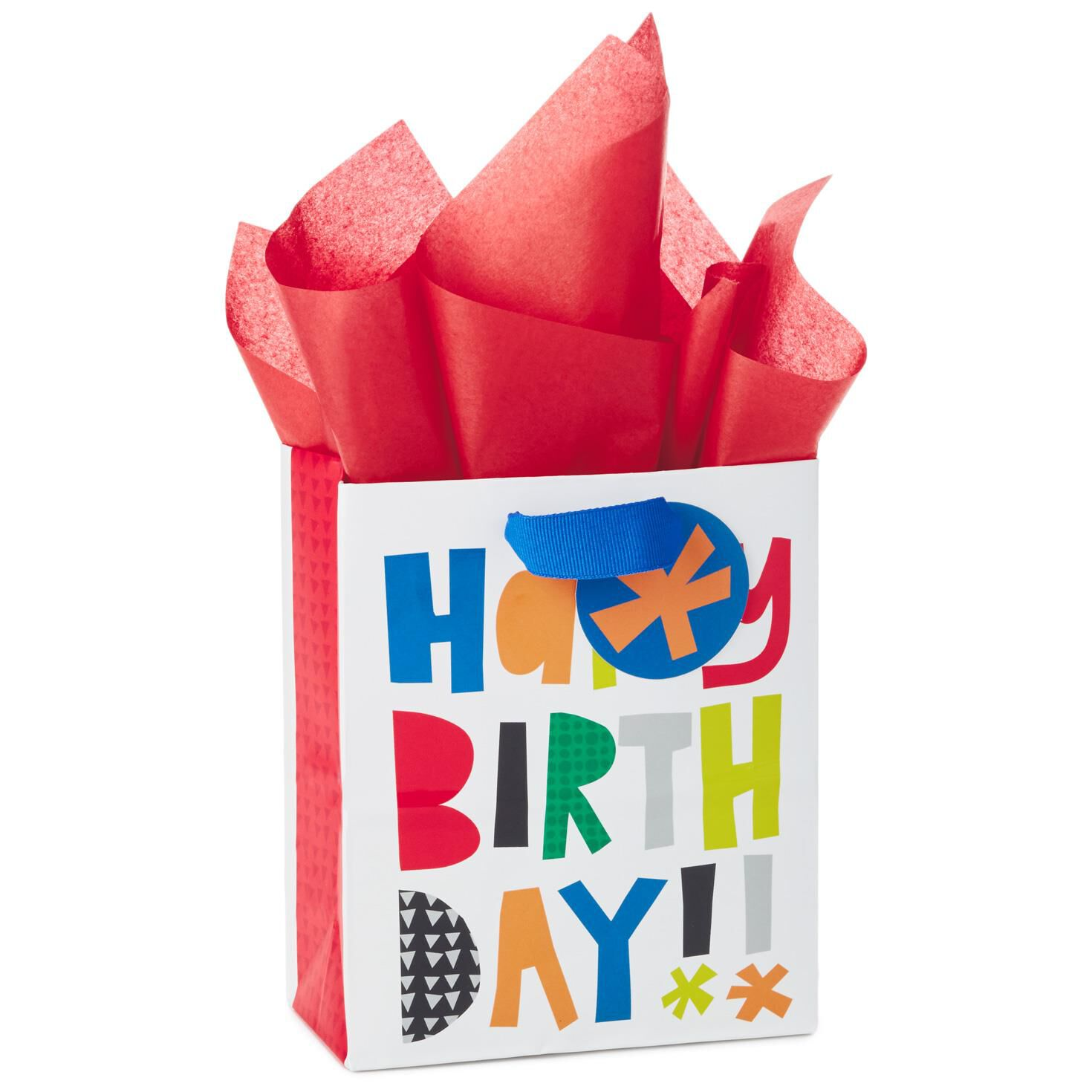 Happy Birthday Block Letters Small Gift Bag With Tag And Tissue 65