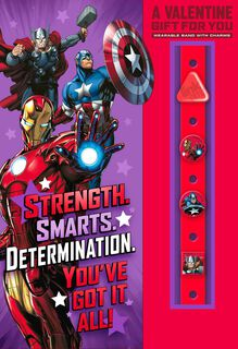 Marvel Avengers Valentine's Day Card With Link'emz Wristband,