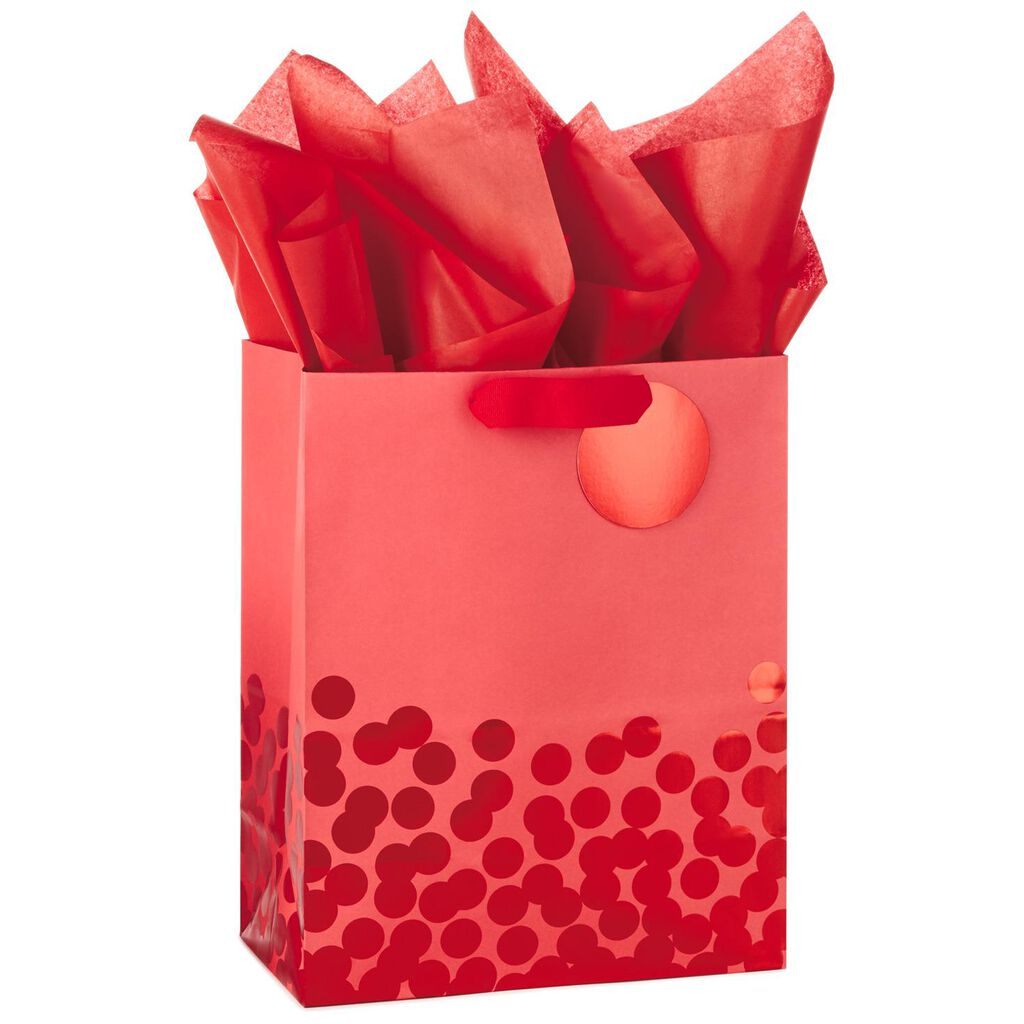 red foil dots large gift bag with tag and tissue 13 gift bags