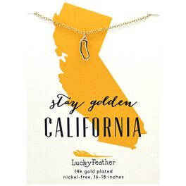 State of California Necklace in 14k Yellow Gold-Plate, , large