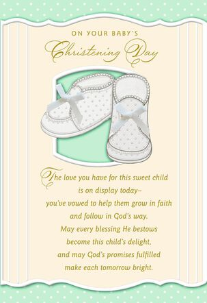 Baby Booties With Bows Christening Card