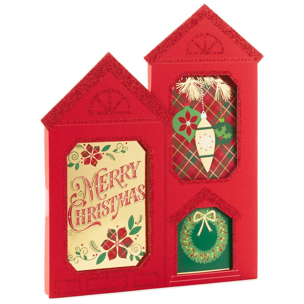house shaped assortment box christmas cards with 3 designs box of