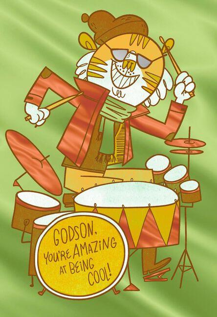 Tiger Playing Drums Birthday Card For Godson Greeting Cards Hallmark