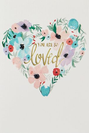 So Loved Heart-Shaped Flower Wreath Blank Card