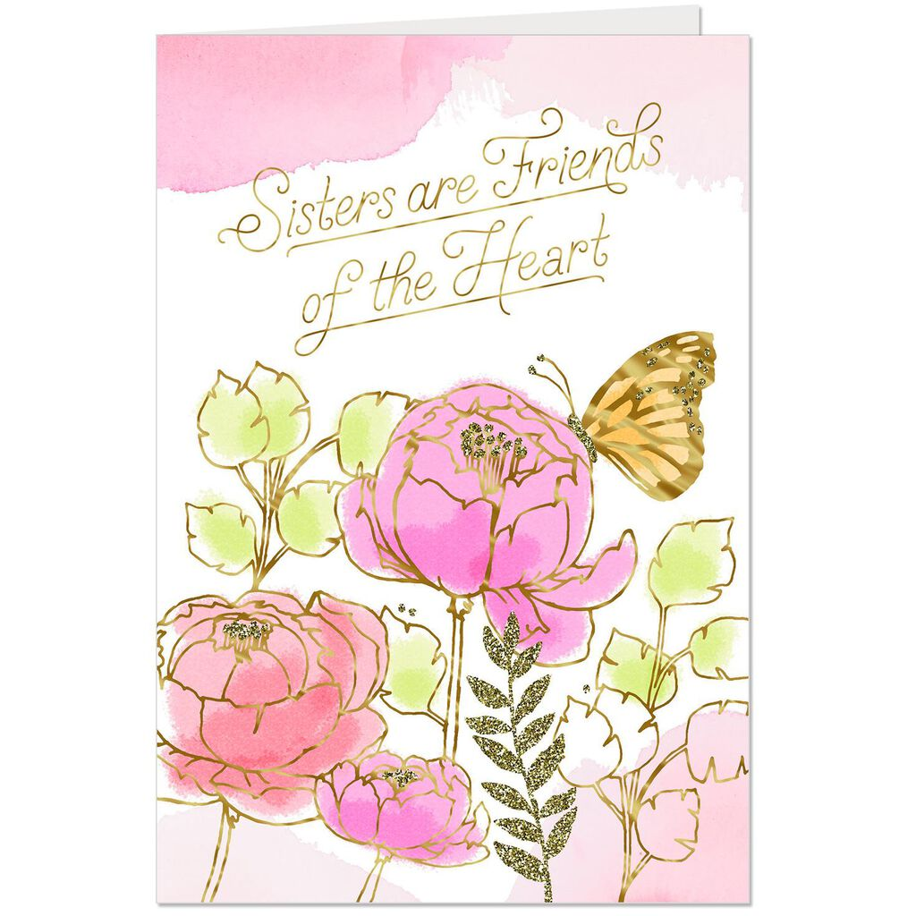 Sisters Are Friends Of The Heart Birthday Card Greeting Cards