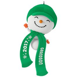 Cute Snowman Grandson Ornament, , large