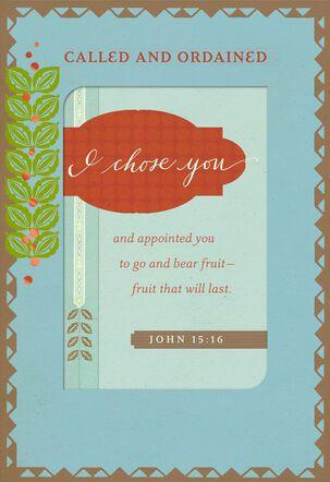 Leaf Border Ordination Congratulations Card