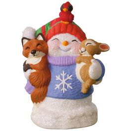 Snow Buddies 20th Anniversary Snowman, Fox and Squirrel Ornament, , large