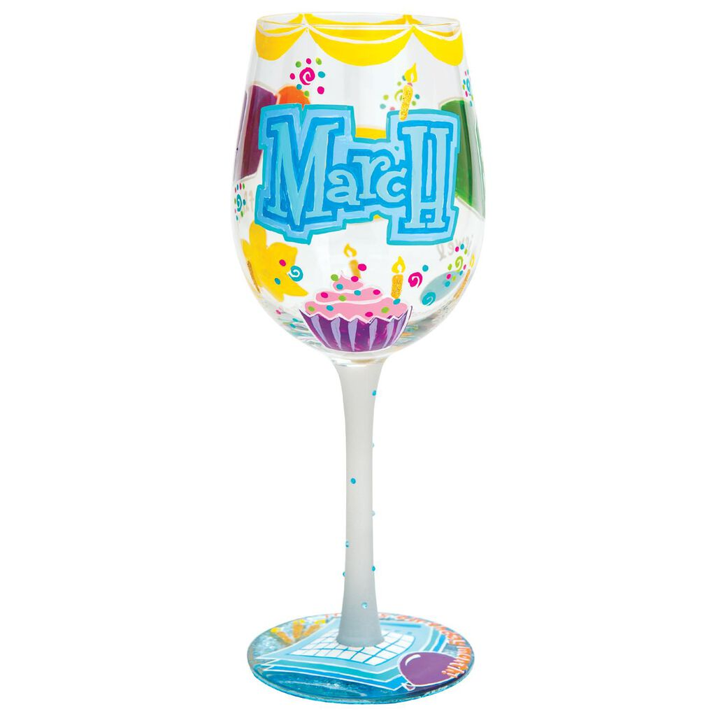LolitaR March Birthday Cupcake Hand Painted Wine Glass 15 Oz
