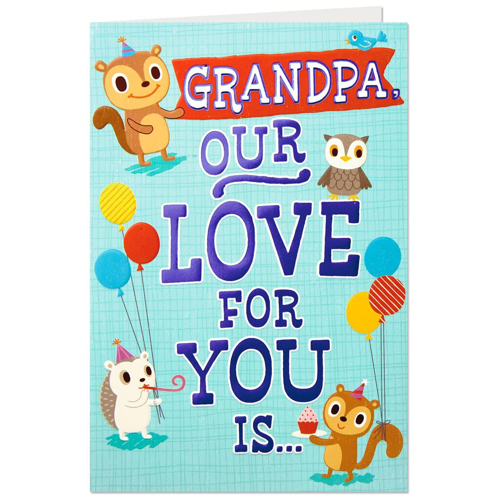 Woodland Critters Birthday Card For Grandpa