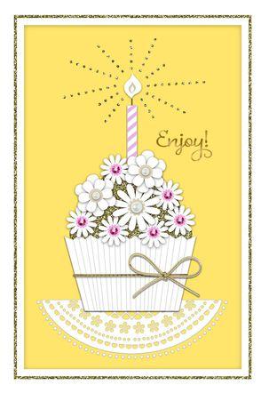 Elegant Cupcake Wishes Birthday Card