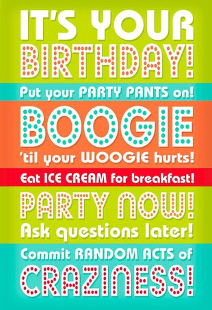 Boogie Woogie Party Musical Birthday Card