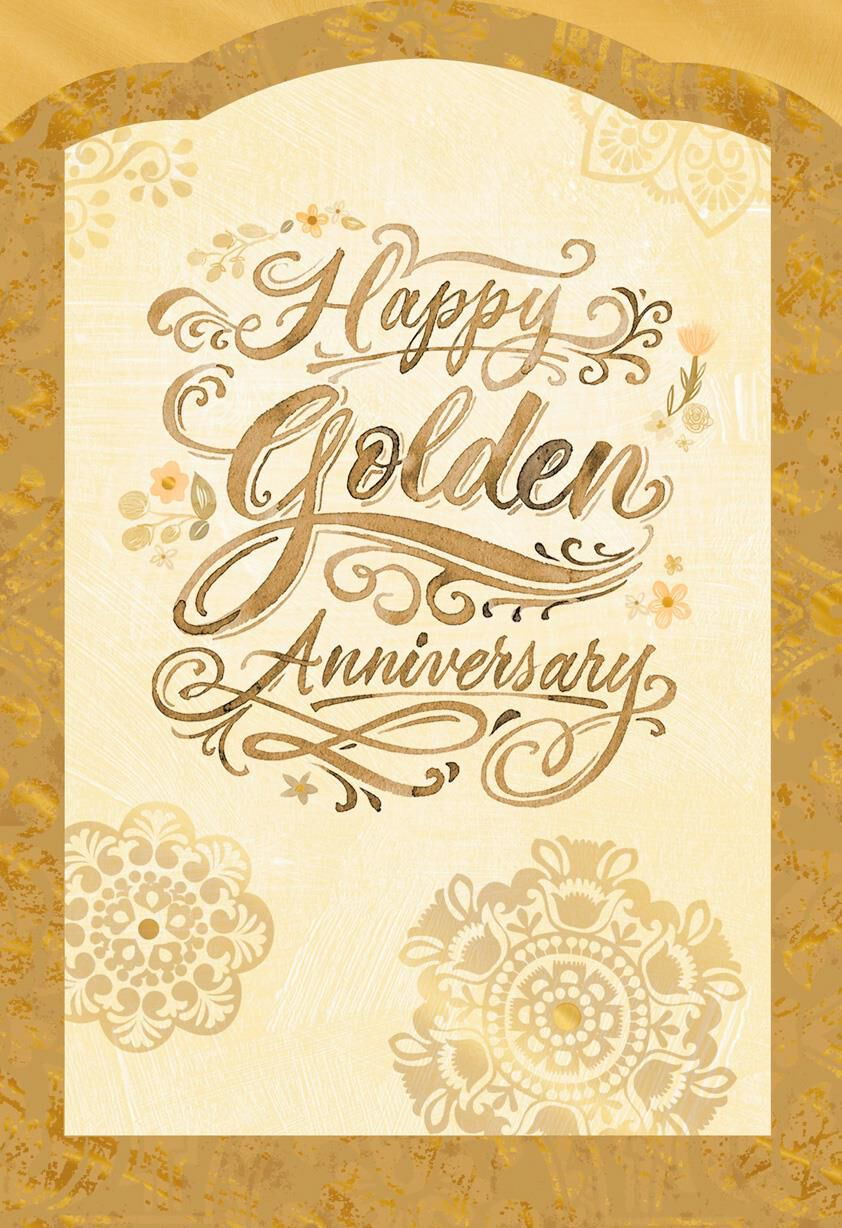 Golden wishes th anniversary card greeting cards