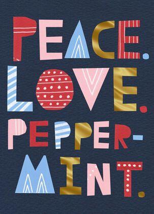 Peace Love Peppermint Christmas Card