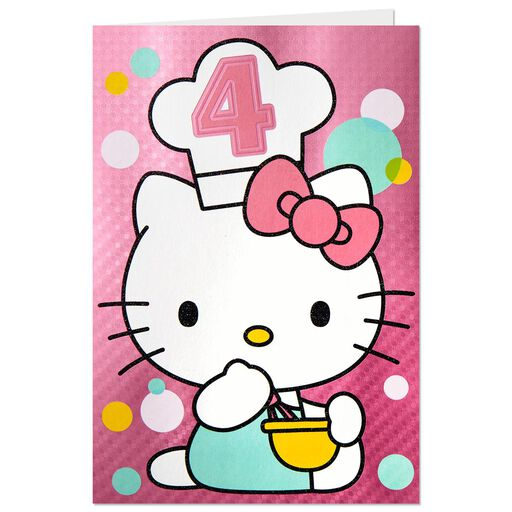 hello kitty 4th birthday pop up birthday card