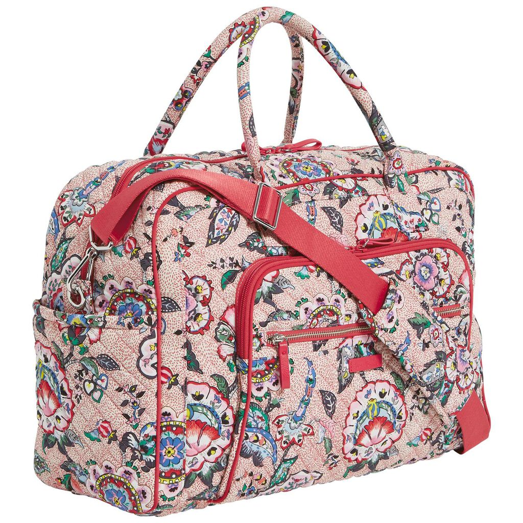 ... Vera Bradley Iconic Weekender Travel Bag in Stitched Flowers ... d6fec49512587