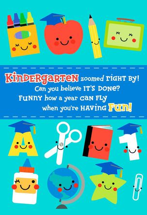 Colorful Learning Kindergarten Graduation Card