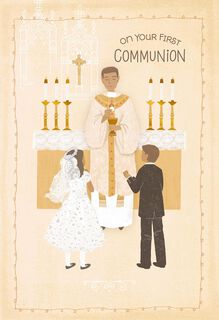 Boy and Girl Receiving the Eucharist First Communion Card,