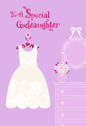 Flowery White Dress First Holy Communion Card for Goddaughter