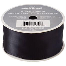 "Black 1.5"" Satin Wire-Edged Ribbon, 4.3 yards, , large"