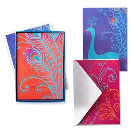 Peacock Splendor Blank Note Cards, , large