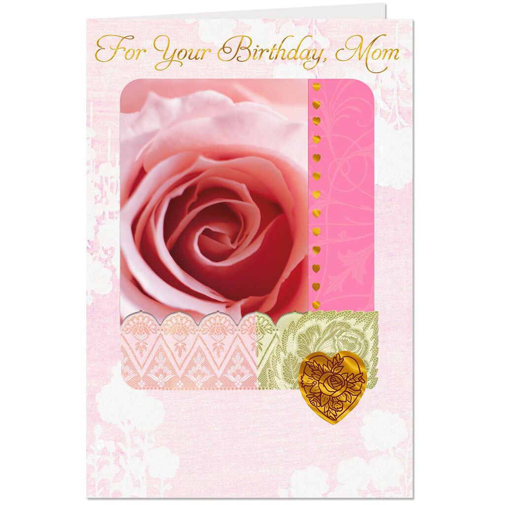 Pink Rose Close Up Birthday Card For Mom