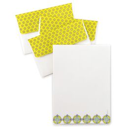 Geometric Floral Border Stationery & Envelopes, 20 Sheets, , large
