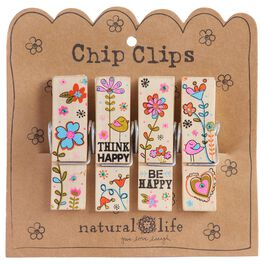 Natural Life Think Happy Crazy Love Chip Clips—Set of 4, , large