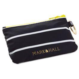 Mark & Hall Black and White Stripe Nylon Zip ID Case, , large