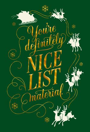 Nice List Material Christmas Card