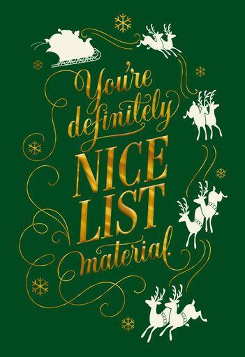 Christmas cards holiday greeting cards hallmark nice list material christmas card m4hsunfo